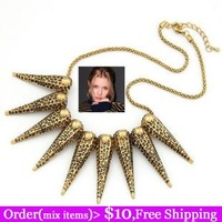 (Mix Items)Punk Fashion Vintage Gothic Exaggerated Antique Bronze Spike Rivet Tassel Chain Sweater Collar Necklace
