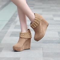 12 women's shoes platform rivet high-heeled shoes wedge boots snow boots