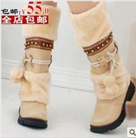 Winter boots snow boots female shoes wool bandage medium-leg boots fur boots tassel women's shoes flat heel winter boots