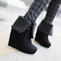 2012 elegant round toe boots nubuck leather ultra high heels winter boots side zipper female boots cotton boots