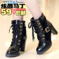 Spring and autumn boots 2012 autumn boots high thick heel boots martin boots plus size motorcycle boots women's shoes