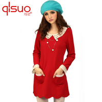 Plus size clothing plus size clothing mm lace patchwork plus size long-sleeve autumn one-piece dress
