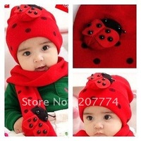 High Quality NEW Design Baby Red Hat+Sarf Set,Santa/christmas/x'mas Baby Hats With Scarf  Free Shipping