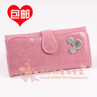 MICKEY wallet female long design cartoon japanned leather women's wallet clutch coin purse