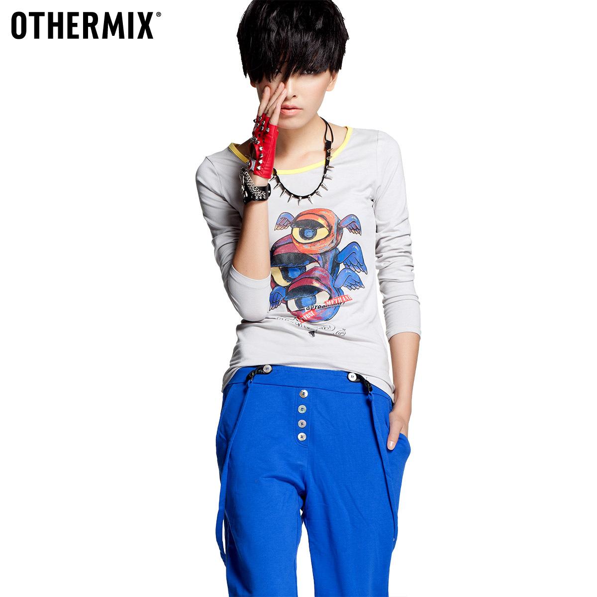 Othermix autumn new arrival long-sleeve T-shirt Women 2012 trend women's 12ma043008f(China (Mainland))