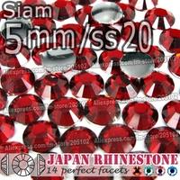 5mm SS20 Siam 1500pcs/bag,Nail Crystals Non Hotfix Rhinestones Resin Flat Back stones glitters for Glue DIY Nail Art BAG