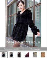 2012 New Women 100% Real Knitted Mink Fur Long Coat Outwear Jacket Hoody Fashion Vintage Women /free shipping