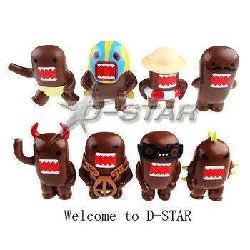 Free Shipping Auspicious & Funny Domo Kun Action Figure Toy (8pcs per set)