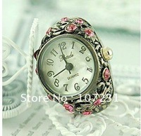 New 2012 Hot Fashion Mini  Refinement  Design Elegant crystal Watch Dial flexible band size Finger Ring Watch