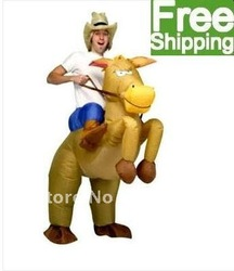 (free shipping CPAM)Halloween, Christmas used Inflatable Horse and Cowboy Fancy Dress Costume Suit(China (Mainland))