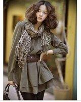 Casual/Career Lady Collarless Long Sleeve Pleated Tiered Mini Dress 3pcs dress+Scarf +belt(S M L XL XXL)917
