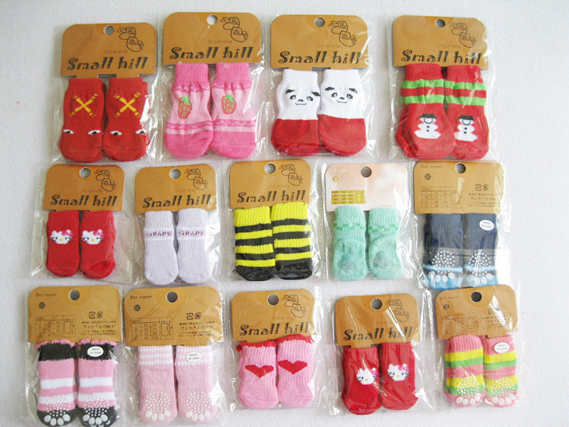 Dog anklets pet cat socks 4pcs/bag exquisite packaging cute free shipping color sent by random 1601(China (Mainland))