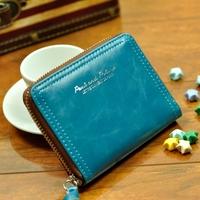 Free Shipping Wallet female short design candy color vintage zipper women's wallet lovers design
