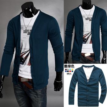 2011 male 100% cotton casual V-neck sweater slim polo cardigan sweater for men fashion cashmere