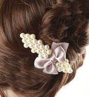 Accessories elegant pearl bow hairpin Women exquisite hair pin hair accessory hair accessory