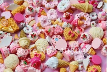 Free shipping, very popular cartoon resin hand painted cookie ice creamMobile phone DIY decoration, mixed, from 20 batches.
