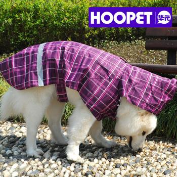 Large dog pet raincoat dog raincoat poncho velcro plaid dog clothes b