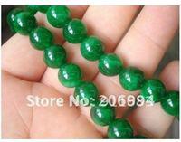 "jade jewelry 10MM Green Emerald Round  Loose Bead 15"" 2pcs/lot fashion jewelry"