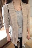Autumn paintless yarn shirt half sleeve heap turtleneck elegant long cape cardigan