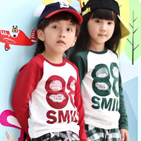 Free shipping Fashion Children's clothing baby cotton long-sleeves T-shirt /boys and girls style clothes+4pcs/lot