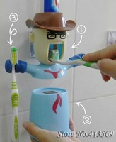 Free shipping cartoon novelty lover's warriors wash set/ automatic toothpaste dispenser with one mug, can hold two toothbrushes
