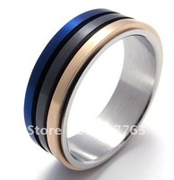 Fashion 316L Stainless Steel  Black Blue Rose Gold Three Rows Colors Spinner Rotating Rings SZ#8-12