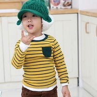 Hot selling children's clothing stripe long-sleeve T-shirt/color yellow,red,blue Free shipping+4pcs/lot