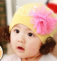 100% cotton yarn flower baby wig hat autumn and winter baby toe cap covering cap child hat(China (Mainland))