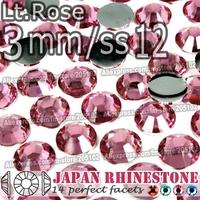 3mm SS12 Lt.Rose 2500pcs/bag,Nail Crystals Non Hotfix Rhinestones Resin Flat Back stones glitters for Glue DIY Nail Art BAG