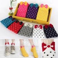 Free shipping cute cotton socks bow polka dot slippers sock for women
