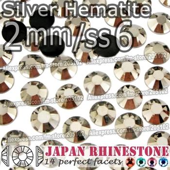 2mm SS6 Silver Hematite 3000pcs/bag,Nail Crystals Non Hotfix Rhinestones Resin Flat Back stones glitters for Glue DIY Nail Art