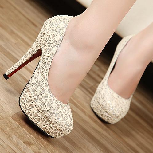 2012 autumn gauze ultra high heels platform women's red sole high-heeled34 women's shoes(China (Mainland))