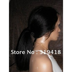 Glueless Full Lace Kinky Straight100% Indian Human Hair Baby Hair #1 Jet blacks glue less cap wig wholesale supplier shop online(China (Mainland))