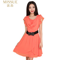 H19 2012 solid color short-sleeve strapless women's plus size chiffon one-piece dress
