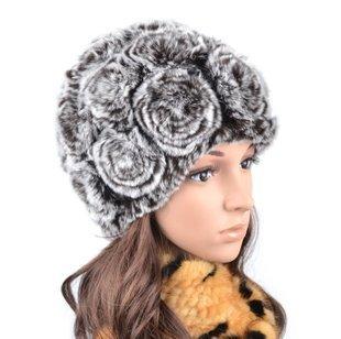 2012 winter Women Fashion Real Rex rabbit  fur hat ear flower cap adjustable headgear Fedoras