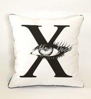 Wholesale Free Shipping 45cmX45cm Black Letter X Cool Big Eye Linen Cushion Cover