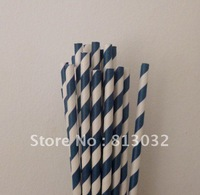 good paper straws wholesale, striped paper straws, free shipping, dark blue, 500 pcs/lot