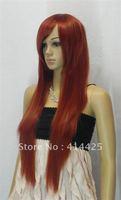 charming long STRAIGHT dark red cosplay full wig + weaving cap(gift)