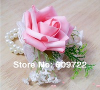 2014 New Free Ship European Pink Wrist Flower Corsage with Pearl  Bridesmaid Accessories 10 pcs in Wedding Decoration FL122-2