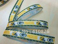 "WM ribbon wholesale/OEM 7/8"" Sport Team ""packers"" printed grosgrain ribbon 50yds/roll free shipping"