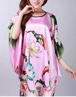 Free shipping Pink womens robe gown sleepwear  Kaftan one size style