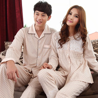 Spring and autumn sleepwear lovers long-sleeve knitted cotton at home service male Women quality casual lounge set