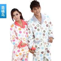 Autumn and winter lovers sleepwear female male sleep set sleepwear entresol knitted cotton dot lounge long-sleeve sleepwear