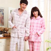 2012 winter thickening lovers coral fleece sleepwear long-sleeve coral fleece plaid male women's set lounge
