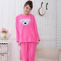 2012 winter sleepwear coral fleece  women's long-sleeve  cartoon sleepwear lounge female set