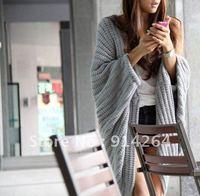 Women Batwing Sleeve Loose Loose Knit Shrug Sweater Grey / free shipping