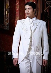 Wholesale Super White With Embroidery Men's Suits Groom Wedding Groom Tuxedos AA-087(China (Mainland))