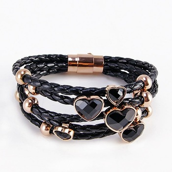 wholesale customize high-quality Men's Womens real Leather charm titanium Stainless Steel Clasp Bracelet NSB335