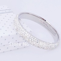 New Shamballa Bracelets,Hot Fashion White CZ Crystal Titanium Stainless Steel Cuff Bangles Shamballa Bangles with Free Gift Box