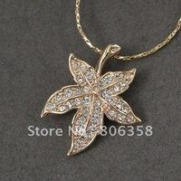 Free shipping++18KGP plated Maple leaf necklace Full Rhinestone Pendant